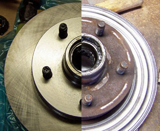 disc brake rotor split view, one half damaged