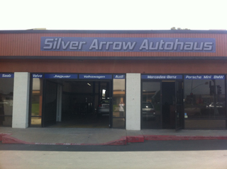 front window view of Silver Arrow Autohaus